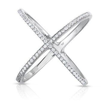 "Sterling Silver Pave CZ ""X"" Criss Cross Long Ring (Size 7)"