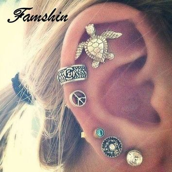 ac spbest FAMSHIN 6 PCS/Set Tortoise Boho Earrings Set Blue Rhinestone Pendant Earring Tibetan Silver Stud Earrings For Women Beach Jewelr