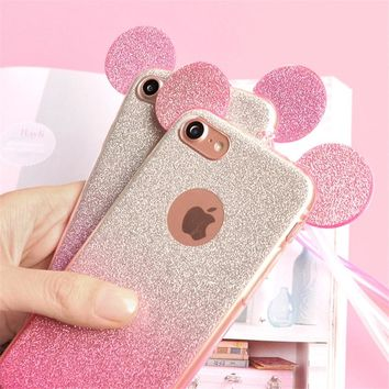 Glitter Minnie Mickey Mouse Ears TPU Case For Samsung Galaxy S7 S6 Edge S8 Plus S5 J3 J5 A5 A3 A7 J7 2015 2017 2016 Case Coque