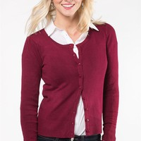 Everyday Crewneck Cardi - Burgundy