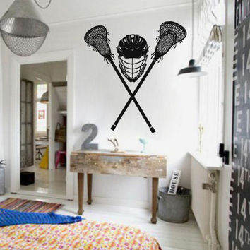 kik872Wall Decal Sticker lacrosse game  athlete helmet sports room teens сhildren