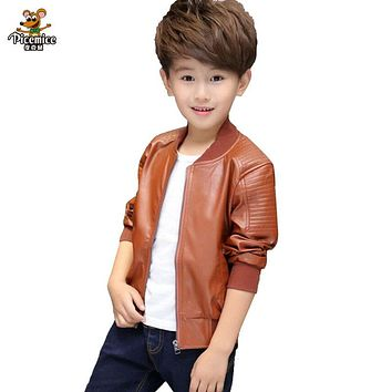 Children PU Leather Jacket Boys Spring Autumn Faux Leather Coat Boy Girls Spring Jacket Children Solid Casual Outerwear 3T-14T