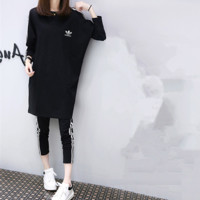 """Adidas"" Women Casual Fashion Multicolor Stripe Middle Sleeve Set Two-Piece Sportswear"