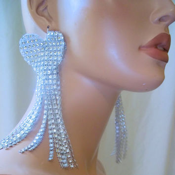 Beautiful Sexy Sparkling Silver Earrings, Bling Earrings, Bling Jewelry, Party Earrings, Sexy Long Earrings, Faux Rhinestone Earring