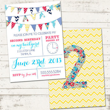Girls Birthday Invitation 2 sided - Colorful Fabric Bunting - Pretty, Floral, Cupcakes - Custom, Digital, Printable Designs
