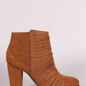 LMFIW1 Bamboo Suede Slashed Chunky Heeled Ankle Boots