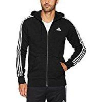 DCCKIN4 adidas Men's Essentials 3-Stripe Full Zip Fleece Hoodie