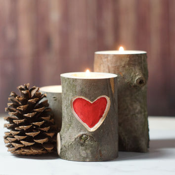 Carved Heart Rustic Tealight Holder - Hand Painted Red Heart Decor