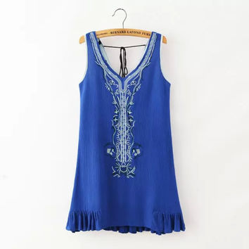 Blue Embroidered Sleeveless Ruffled Dress