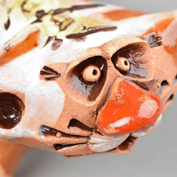 Cat figurines ceramic figurines homemade home decor gifts for cat lovers