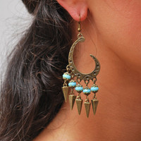 Flamenco earrings, Gypsy Hippie style earrings, light blue beads earrings, Unusual earrings, Festival earrings, Bronze spike earrings