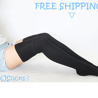 Black Thigh High Socks Knit Socks Boot Socks Knee Socks Socks Leg Warmers Plus Size for Womens Christmas Gifts Three Available Colors 15