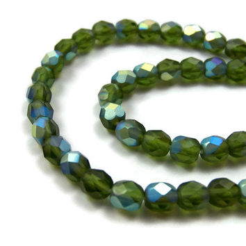 faceted glass beads, 6mm Green Aurora Borealis AB, full strand (371G)