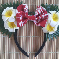 Hawaiian Plumeria with Red Bow Ears
