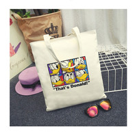 Mickey Mouse and Donald Duck Printing Canvas Tote Bag Student Shoulder Bag Leisure Beach Bag Daily Use Shopping Bag Handbag