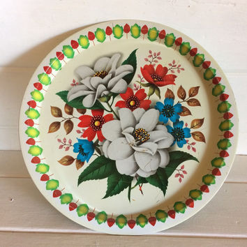 Elite Trays, England Elite, England Tin Tray, Vintage Tin Tray, Metal Serving Tray, Tin Flower Tray, Tin Serving Tray