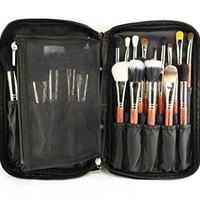 LOUISE MAELYS Multifunction Fabrics Makeup Brush Zipper Folio Case Cosmetic Handbag For Travel