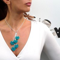 Silver chain necklace with crochet turquoise hearts pendants, lobster clasp closure and extender chain - TINY HEARTS