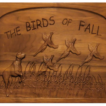 Bird Dogs Sign - Pheasant Sign - 3D Carved Wall Art - 3D Scenery Wall Hanging