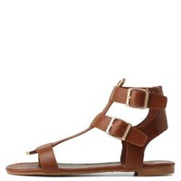 Chestnut Dollhouse Gold-Tipped Triple T-Strap Sandals