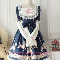 Fairy Tales Princess Blue Cotton Square Neck Long Sleeves Lace Trim Sweet Lolita Dress