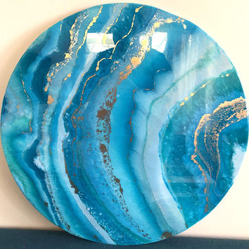 RESIN ART painting in greens, turquoise, white and gold round 60cm