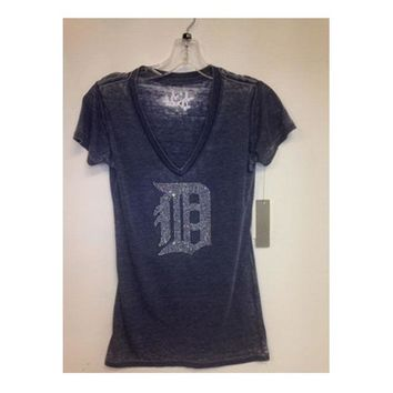 LMFONRU MLB Touch Detroit Tigers Ladies V-Neck Burnout Bling Tee-Navy