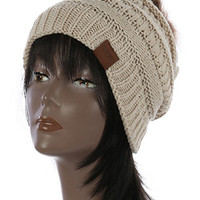 Super Soft Beige Pom Pom Winter Hat