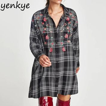 Fashion Women Floral Embroidery Plaid Shirt Dress Long Sleeve Casual Oversized Dresses