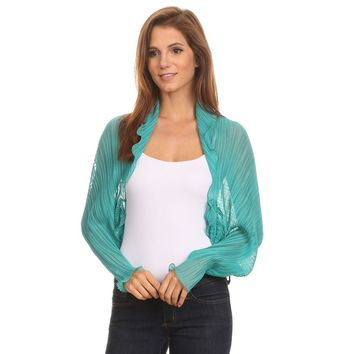 Womens Chiffon Pleated Shrug