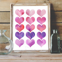 Rows of Hearts Love Watercolor Painting Printable Instant Download 8x10 11x14 Valentine's Day Gift Baby Nursery Teen Room Pink Purple Hearts