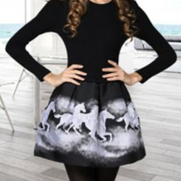 Ladylike Women's Round Collar Horse Print Splicing Long Sleeve Dress