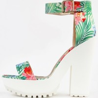 Qupid Therapy-16 Tropical Flower Print Platform Heels | MakeMeChic.com