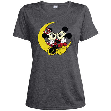 Merry Christmas and Happy New Year Mickey Mouse and moon  LST360 Sport-Tek Ladies' Heather Dri-Fit Moisture-Wicking T-Shirt