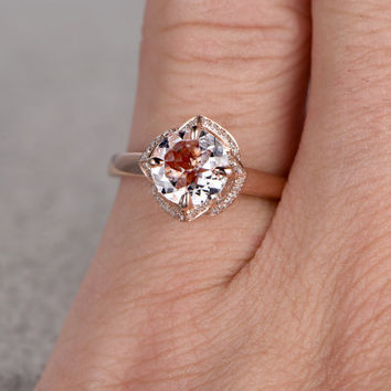 6.5mm Morganite Engagement ring Rose gold,Diamond wedding band,14k,Round Cut,Gemstone Promise Bridal Ring,Floral Prongs,Pave Set,Handmade