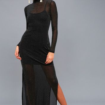 Silver Linings Black Long Sleeve Maxi Dress