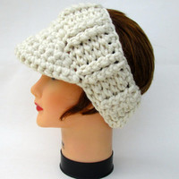 Chunky Sun Visor - Cream Headband With Brim - Crochet Headwear - Brimmed Ear Warmer - Visor Headband - Women's Accessories