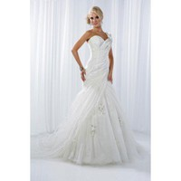 Floor-length tulle bridal gown with hand made flower style