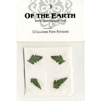 "Leather Fern 1.25"" Real Pressed Flower Decorating Stickers - pack of 12 - Not Dyed"
