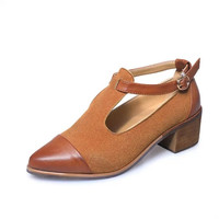 Spring Autumn New England style retro wood with Wipe color T thick with Oxford shoes