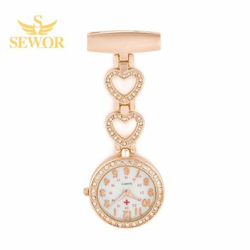 2017 SEWOR Luxury Womens Nurse Pendant Watches Chic Heart Stainless Steel Crystal Glod Pocket Watches Ladies Favorite C177