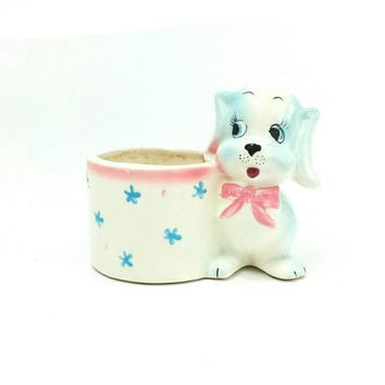 Vintage Dachshund Puppy Planter, Pink Blue, Dog, Nursery Baby Room Decor, 1960's, Dog Theme Decor, Kitsch, Anthropomorphic