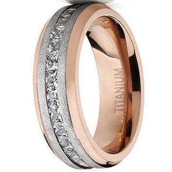 CERTIFIED 8mm Rose Plated Brushed Titanium Wedding Ring Eternity Band with Channel Set Princess Cut Cubic Zirconia