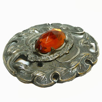 Art Nouveau Brooch - Pressed Metal with Golden Amber Glass - 1980's does 1880's Jewelry