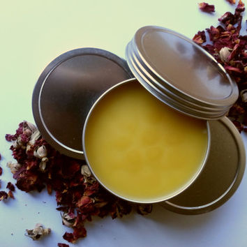 Empowering Rose Ginger Basil Balm, Rosehip Infused Moisturizing Coconut Oil, Jojoba Oil, Vitamin E and Grapeseed Blend w/Local Beeswax