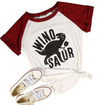Women WinoSaur Burgundy/White Baseball Style Short Sleeve T-Shirt Top