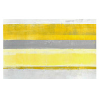 "CarolLynn Tice ""Lemon"" Yellow Gray Decorative Door Mat"