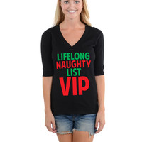Lifelong Naughty List VIP - Football V-Neck Tee