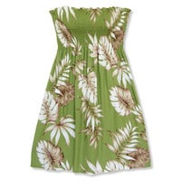 monstera green hawaiian starkiss dress