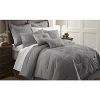 Savannah Gray Eight Piece King Comforter Set Pacific Coast Textiles Comforter Set Comforte